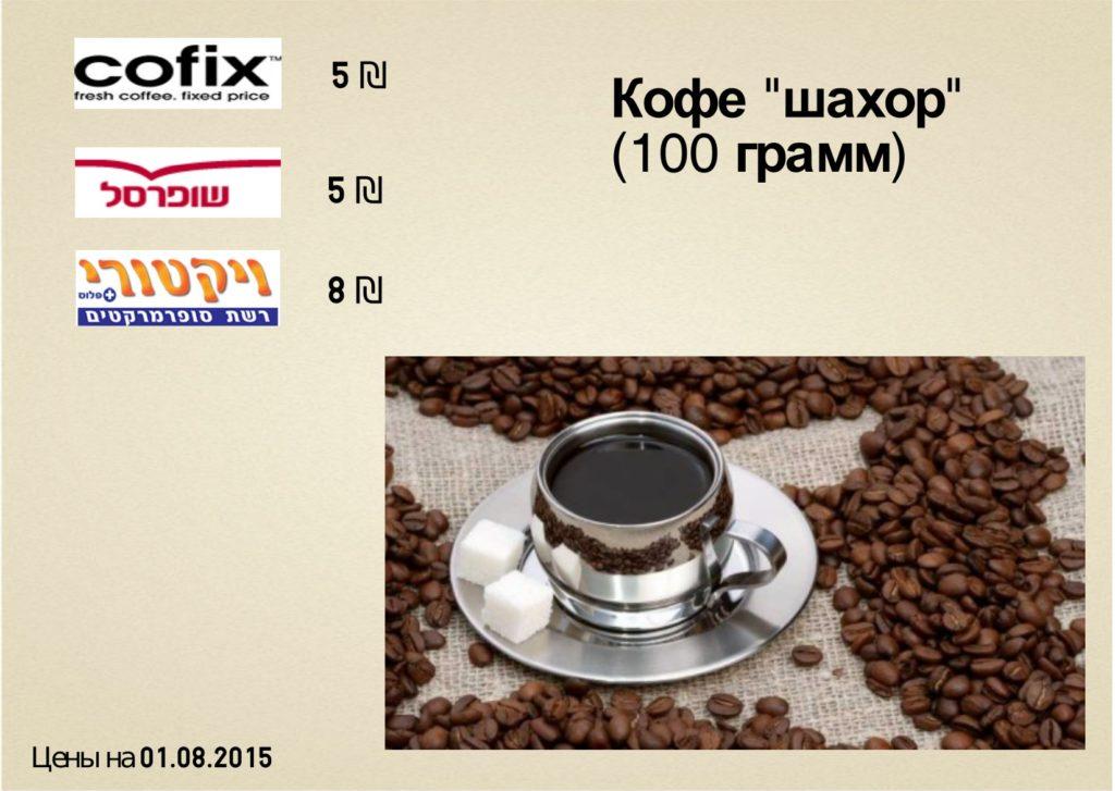 цена на кофе в тель-авиве